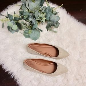 Frye stitched pointed toe suede beige flats